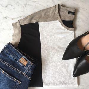 Zara Black White Neutral Color Block Boxy Top XS